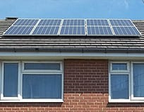 Solar panels installed on a domestic roof